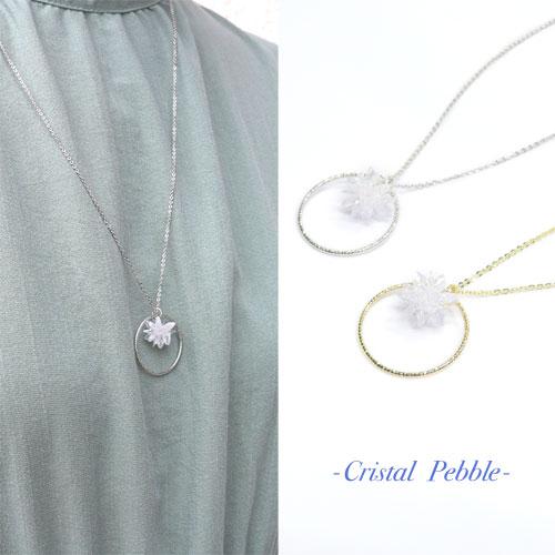 Cristal Pebble-クリスタルぺブル-フラワー×サークルネックレス【アレオリ】