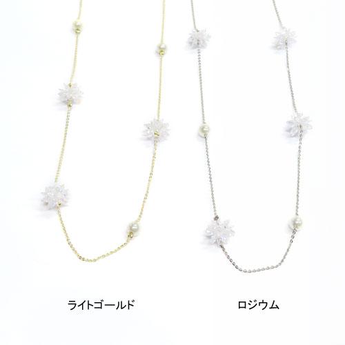 Cristal Pebble-クリスタルぺブル-フラワー×パールネックレス【アレオリ】