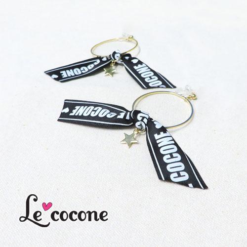 """★70%OFF★""""LE COCONE""""-テープロゴ-シリーズ樹脂ノンホールピアス【ルココネ】"""