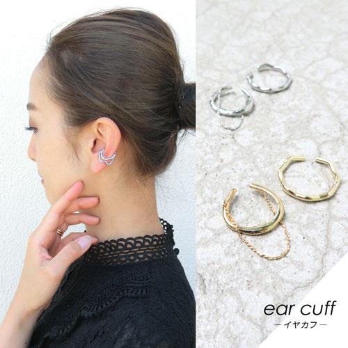 ear cuff -イヤカフ-2連メタルライン・2個セット【アレオリ】