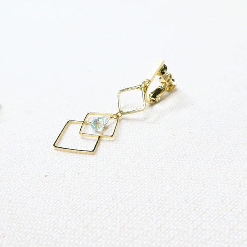 -Drop-天然石シリーズイヤリング-アシメダイヤライン-【ダーリンデイズ】