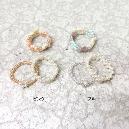 -beaded accessories-フラワービーズリング-3本セット・B-【アレオリ】