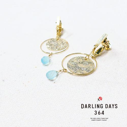 -Drop-天然石シリーズイヤリング-テクスチャーサークル-【ダーリンデイズ】
