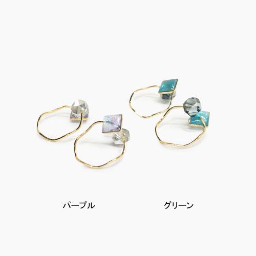 Air cuff -エアカフ-変形サークル・クリアラメ&多角形ビジュー【アレオリ】