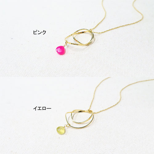 -Drop-天然石シリーズネックレス-マロンカット×フープ-【ダーリンデイズ】