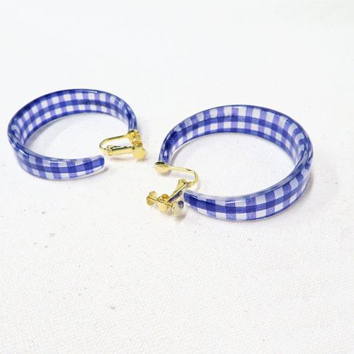 ガーリー×ギンガムチェックシリーズフープイヤリング【ルココネ】