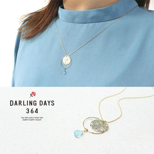 -Drop-天然石シリーズネックレス-テクスチャーサークル-【ダーリンデイズ】