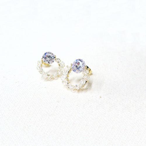 Cristal Pebble-クリスタルぺブル-ピアス-ワンストーンサークル-【アレオリ】