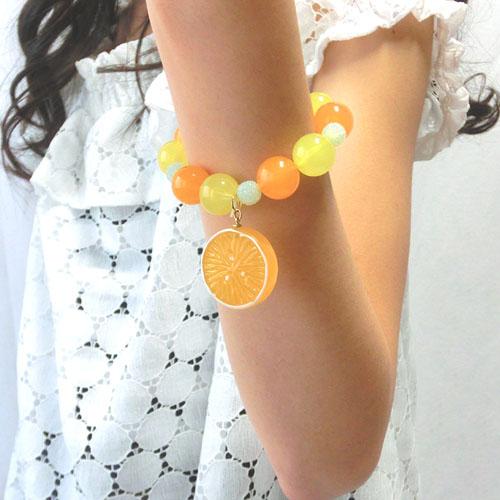 """【ルココネ】""""フルーツモチーフ""""ブレスレット-イチゴ・オレンジ-"""