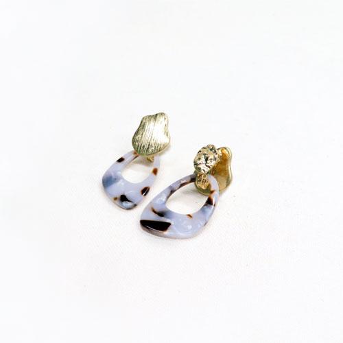 -4way Earring-テクスチャーメタル&マーブルアセチ【アレオリ】