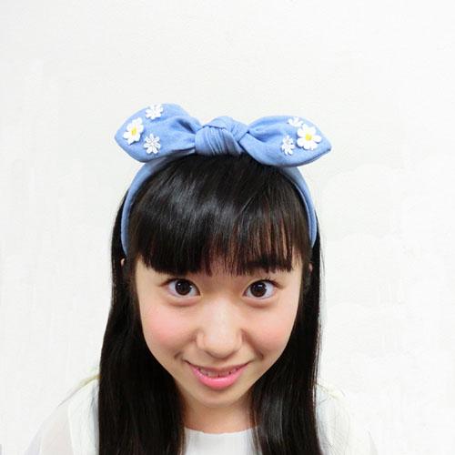 ★70%OFF★【ルココネ】ガーリーデニムシリーズ-フラワーリボンカチューシャ