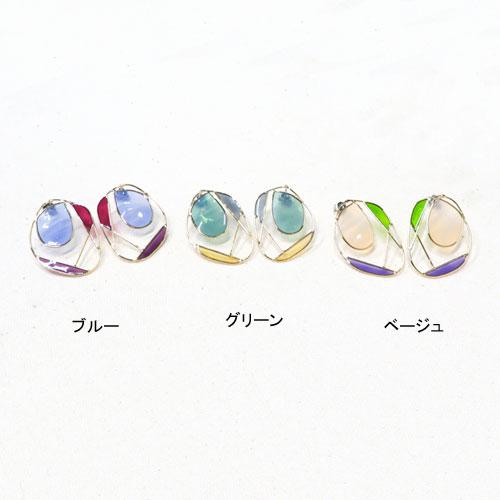 """""""Flowing line""""ダスティーカラー×ゴールドラインピアス-C-【アレオリ】"""