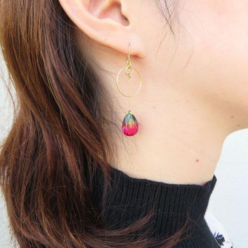 Jewel color-ジュエルカラー-フックピアス・サークルラインドロップ【アレオリ】