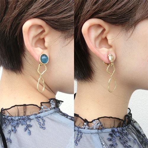 -4way Earring-テクスチャーメタル&変形オーバルライン【アレオリ】