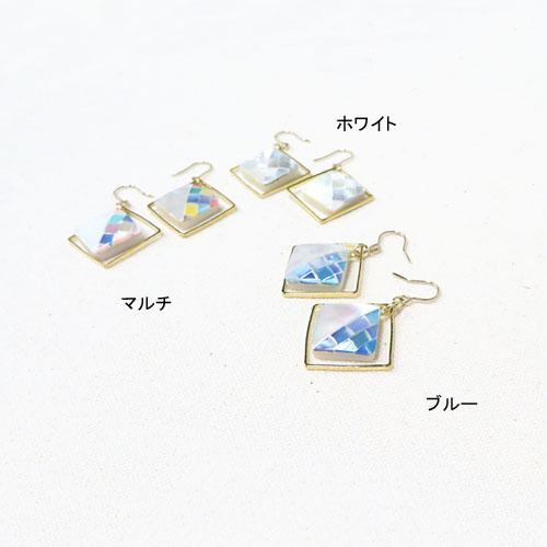 シェルタイルシリーズフックピアス-バイカラーダイヤ-【アレオリ】