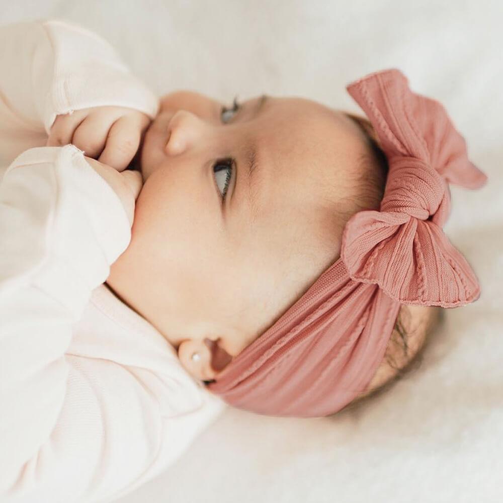 [babybling]リボンヘアバンド(ケーブルニット)