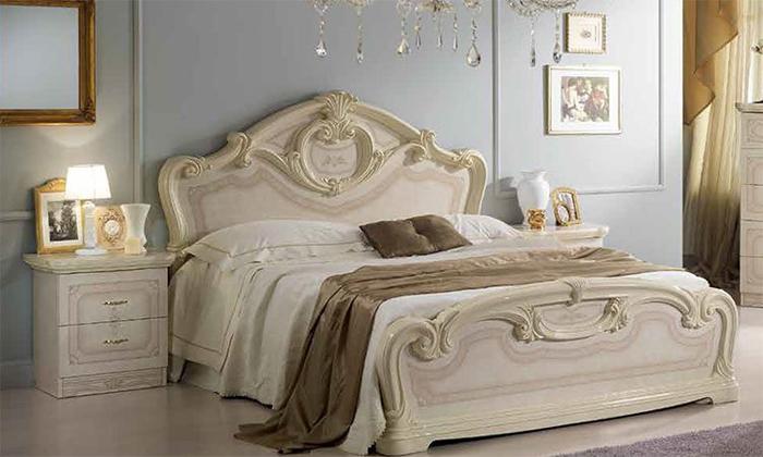 Saltarelli サルタレッリ Amalfi アマルフィ Queen Size Bed(Ivory)+00044080QウッドファンデーションSP(脚12本)
