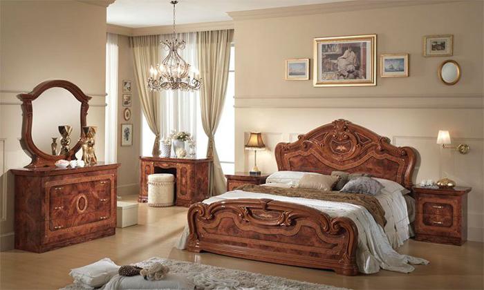 Saltarelli サルタレッリ Amalfi アマルフィ Queen Size Bed Frame(Walnut)+00044080QウッドファンデーションSP(脚12本)