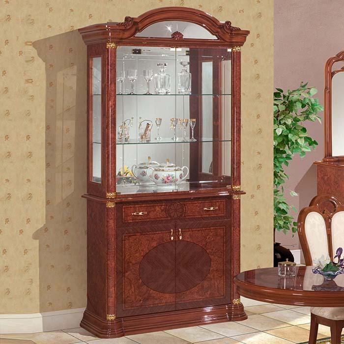 Saltarelli サルタレッリ Florence フローレンス 2Doors Glass Cupboard(Walnut)