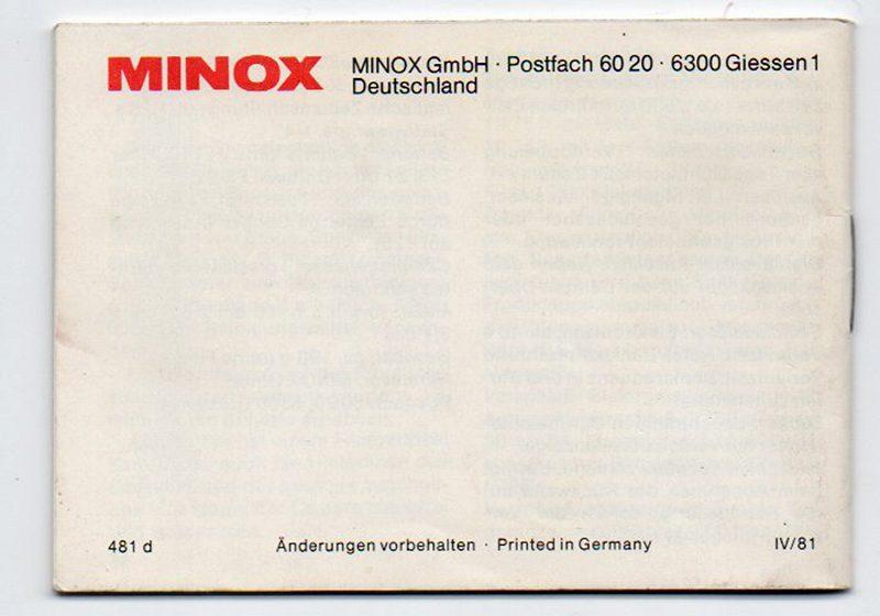 MINOX(ミノックス) 35GT(独文) 取扱説明書 (TO-0429)<br>【DM便発送商品/送料当社負担】