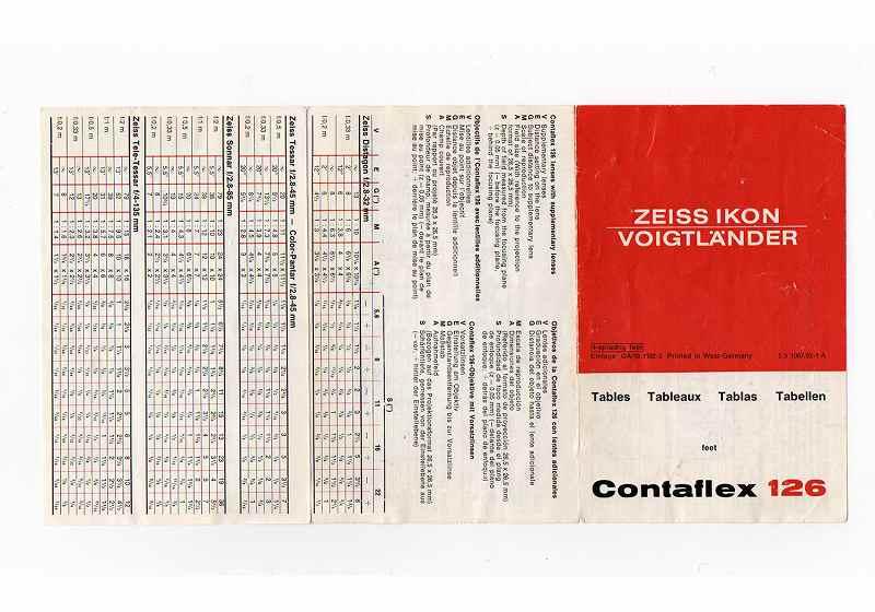Voigtl&#228;nder(フォクトレンダー) Contaflex 取説、簡易説明書、被写界深度テーブル、簡易カタログのSET  (TO-0507)<br>【DM便発送商品/送料当社負担】
