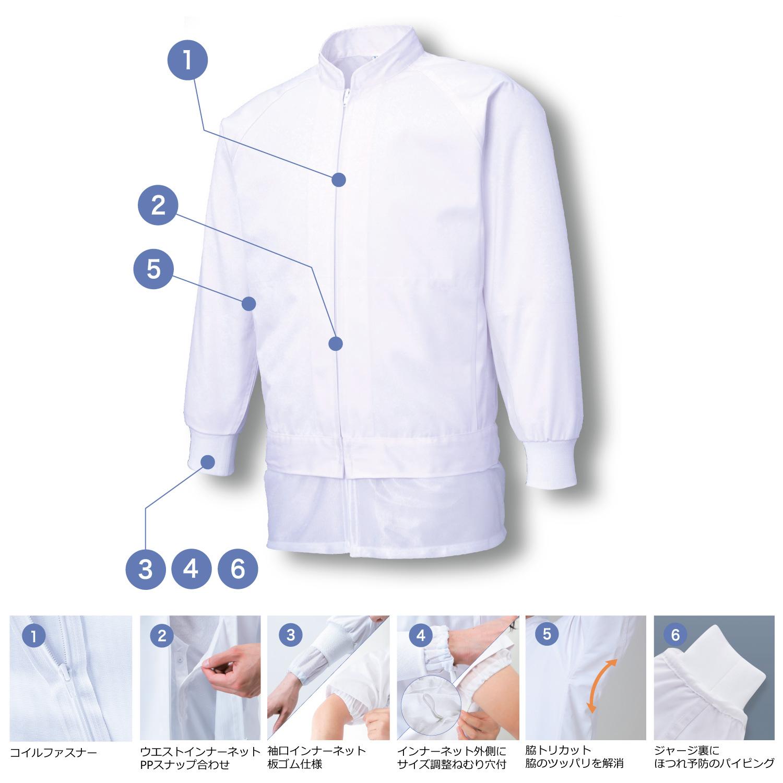男女共用混入だいきらい長袖ジャケット(清涼タイプ)A素材 (FX70971R)