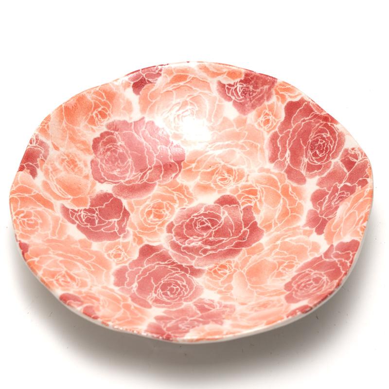 美濃焼 泉文濃淡バラピンク皿付一服碗