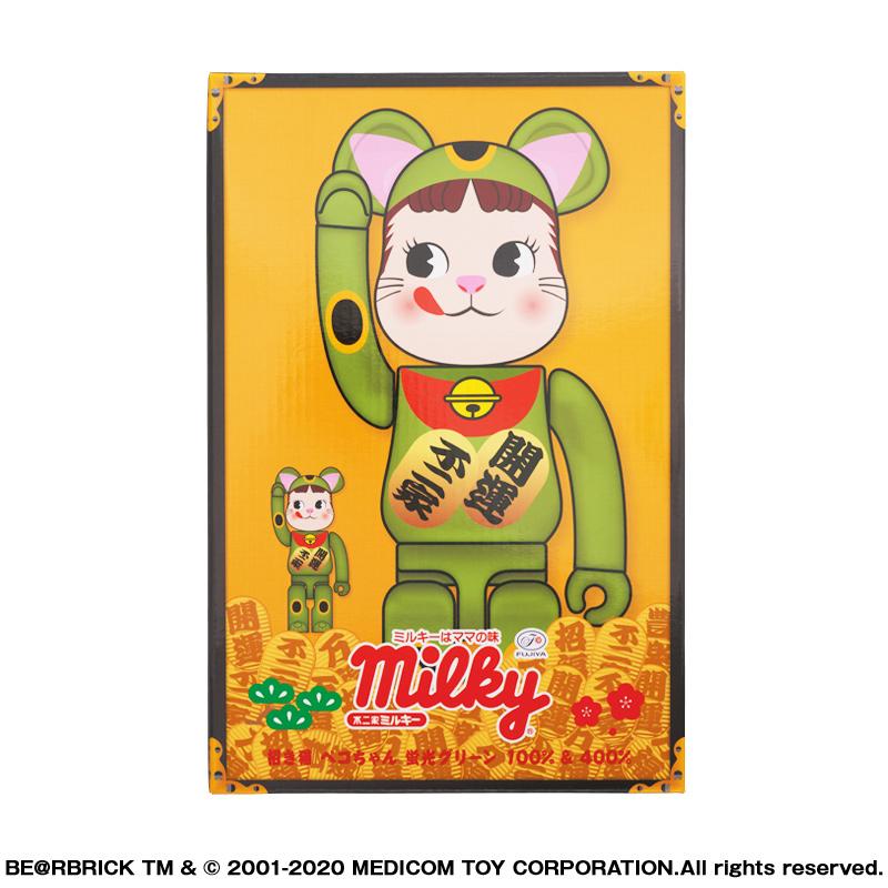 【抽選販売終了】BE@RBRICK 招き猫 ペコちゃん 蛍光グリーン 100% & 400%
