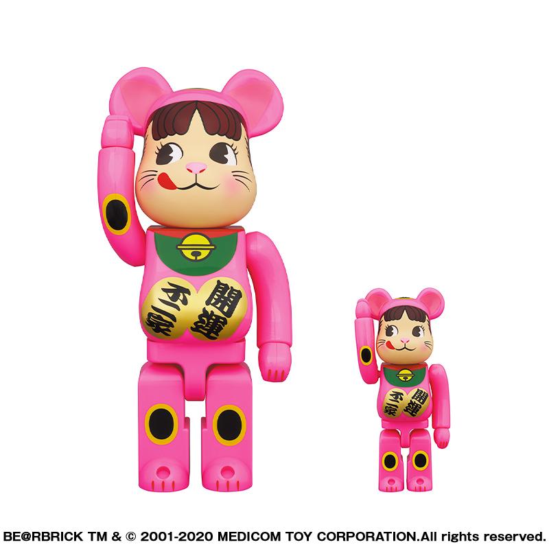 【抽選販売終了】BE@RBRICK 招き猫 ペコちゃん 蛍光ピンク 100% & 400%