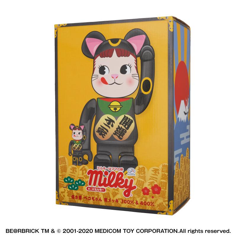 【抽選販売終了】BE@RBRICK 招き猫 ペコちゃん 黒メッキ 100% & 400%