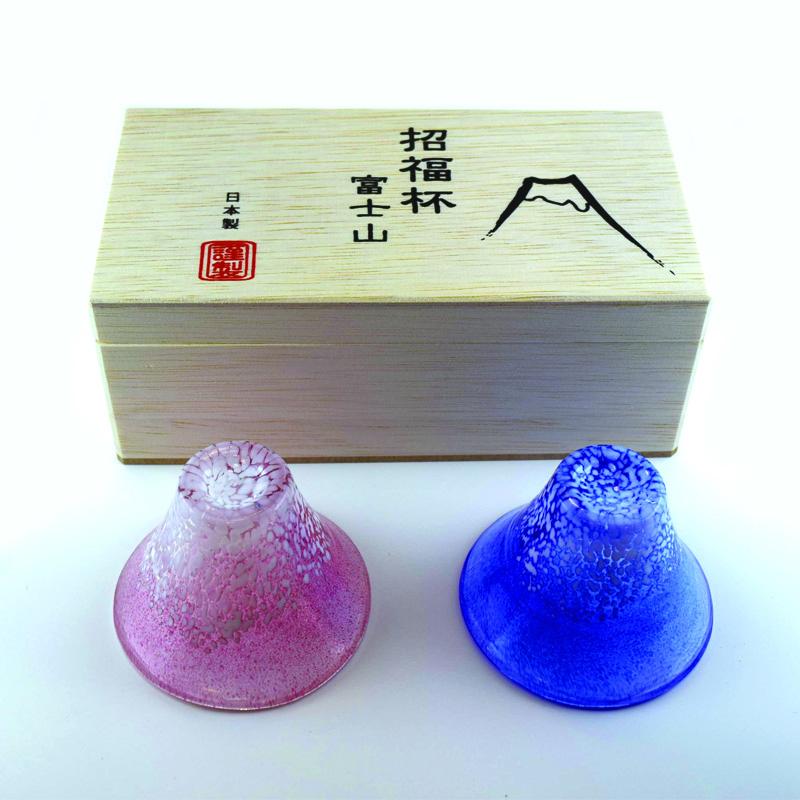招福杯 富士山赤・青ペアセット【木箱入り】
