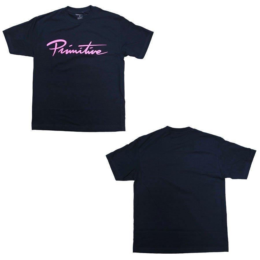 PRIMITIVE プリミティブ NUEVO SCRIPT TEE 3色 半袖Tシャツ カットソー ホワイト 白 ネイビー 黒 ブラック
