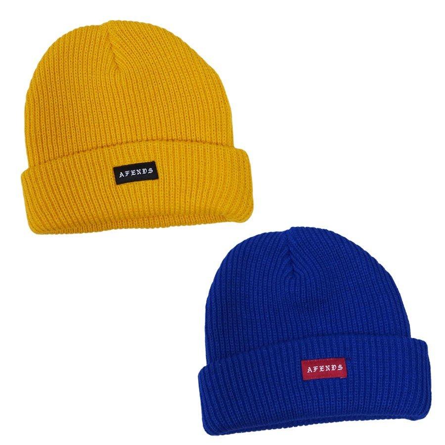 AFENDS アフェンズ サーフ メンズ レディース ユニセックス CORE BEANIE 2色 ビーニー 帽子 イエロー 黄色 ブルー 青