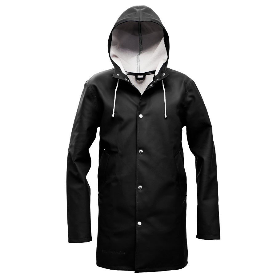 STUTTERHEIM ステュッテルハイム STOCKHOLM MENS HOODED RAIN LONG COAT BLACK アウター レイン ロングコート 黒 ブラック