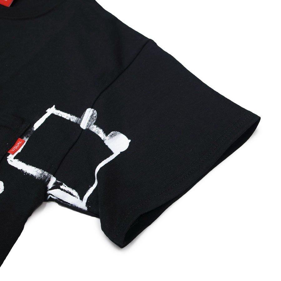 V/SUAL ヴィジュアル ビジュアル CONTACT SHEET NOTES POCKET TEE BLACK 半袖Tシャツ カットソー 黒 ブラック