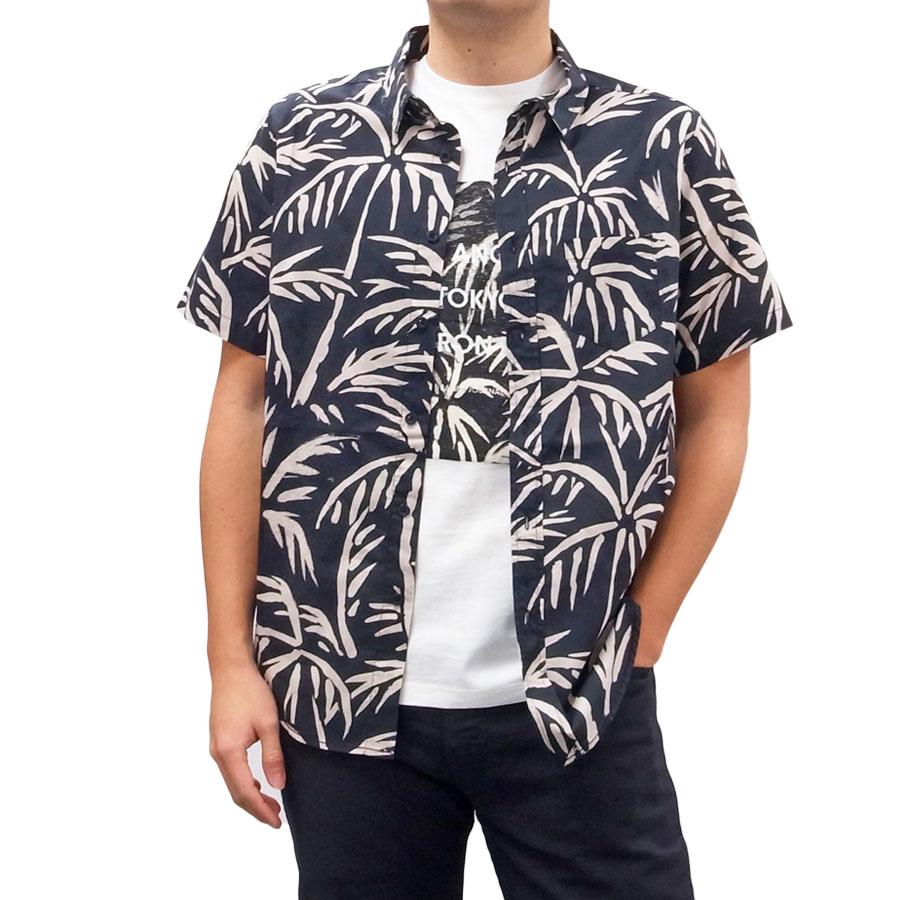 BANKS バンクス メンズ レディース ユニセックス 半袖シャツ 柄シャツ GROVE DIRTY BLACK ブラック 黒