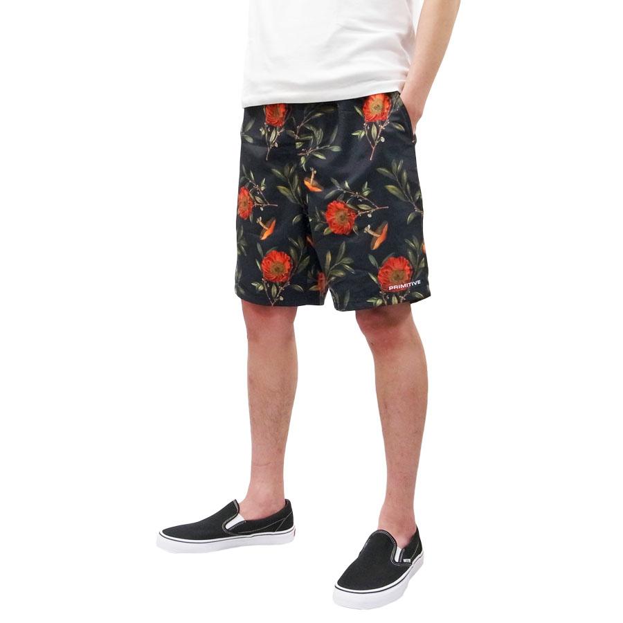 PRIMITIVE プリミティブ DOVER SHORT PANT ショートパンツ ボードショーツ 花柄 ボタニカル ブラック 黒