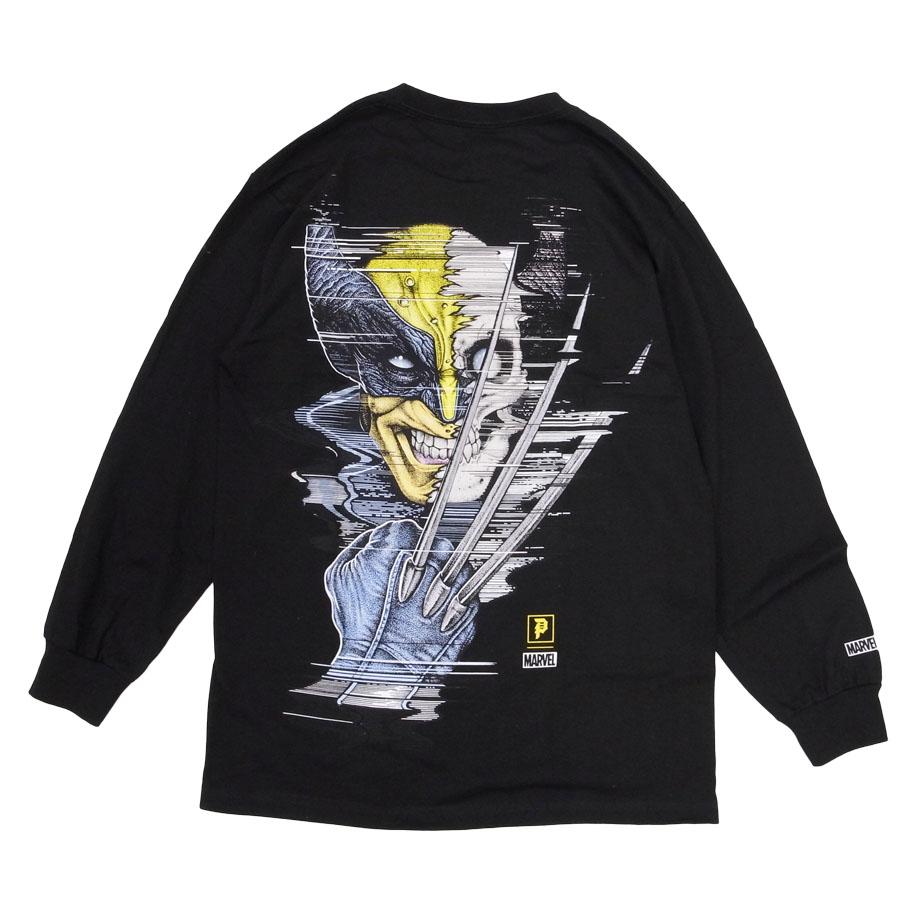 PRIMITIVE プリミティブ ウルヴァリン MARVEL マーベルコミック PJ WOLVERINE L/S TEE 長袖Tシャツ カットソー 黒 ブラック