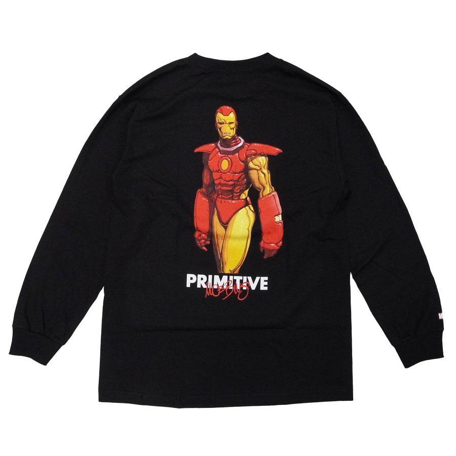 PRIMITIVE プリミティブ アイアンマン MARVEL マーベルコミック IRON MAN L/S TEE 長袖Tシャツ カットソー 黒 ブラック ホワイト 白