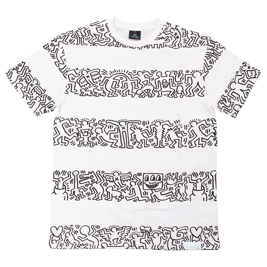 KEITH HARING DIAMOND キースヘリング ダイアモンド 半袖Tシャツ カットソー メンズ レディース ユニセックス STRIPA S/S TEE ホワイト 白 ボーダー しましま