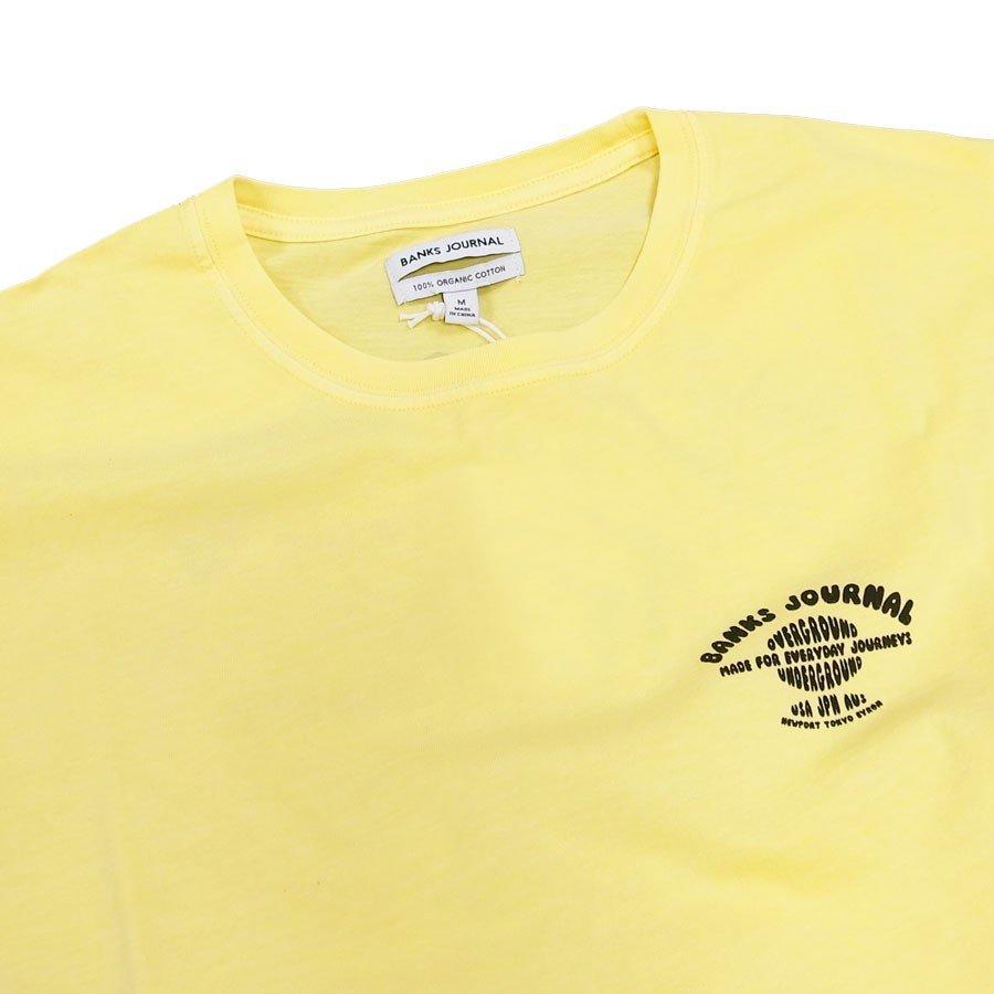 BANKS バンクス メンズ レディース ユニセックス 半袖Tシャツ カットソー イエロー 黄色 ブラック 黒 オーガニックコットン TOUR TEE