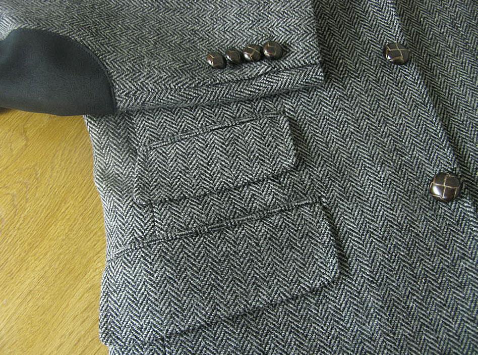 キングサイズ 秋冬ツイードジャケット グレー エルボーパッチ 英国調 3つボタン 【チェンジポケット付】【大きいサイズ】 秋冬 メンズ ブレザー OXFORD CLASSIC 0718  E4  E5 E6 E7 E8