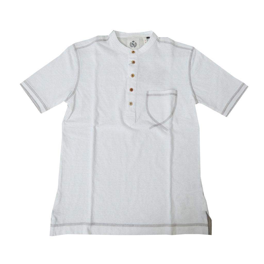 CHUBEI(チュウベイ) ヘンリーネック Tシャツ メンズ 春夏 半袖 ホワイト 263 M