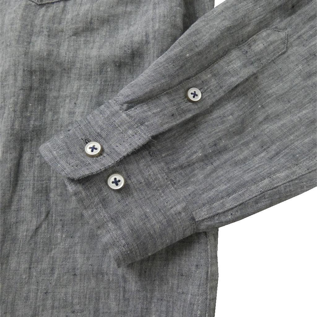 stanley blackerの長袖麻100%シャツ ショートポイント ボタンダウン グレー 1615  3L