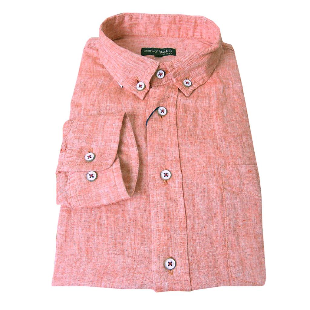stanley blacker(スタンリーブラッカー) 長袖ボタンダウンシャツ カジュアルシャツ メンズ 春夏 麻100% ショートポイント オレンジ系 1635 3L