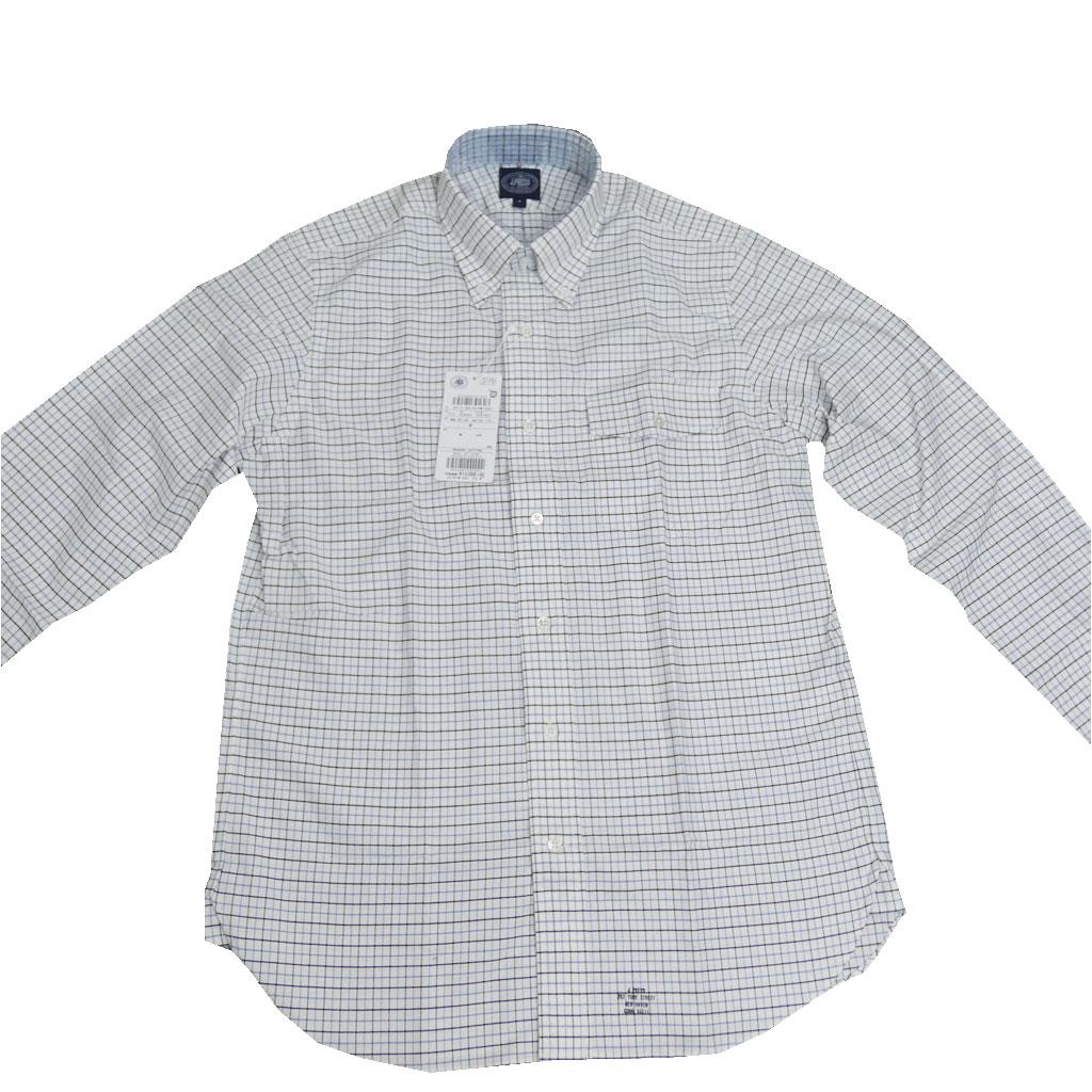 J.PRESS(ジェイプレス) ボタンダウンシャツ メンズ長袖シャツ カジュアルシャツ タッターソールチェック 青×黒 375  LL
