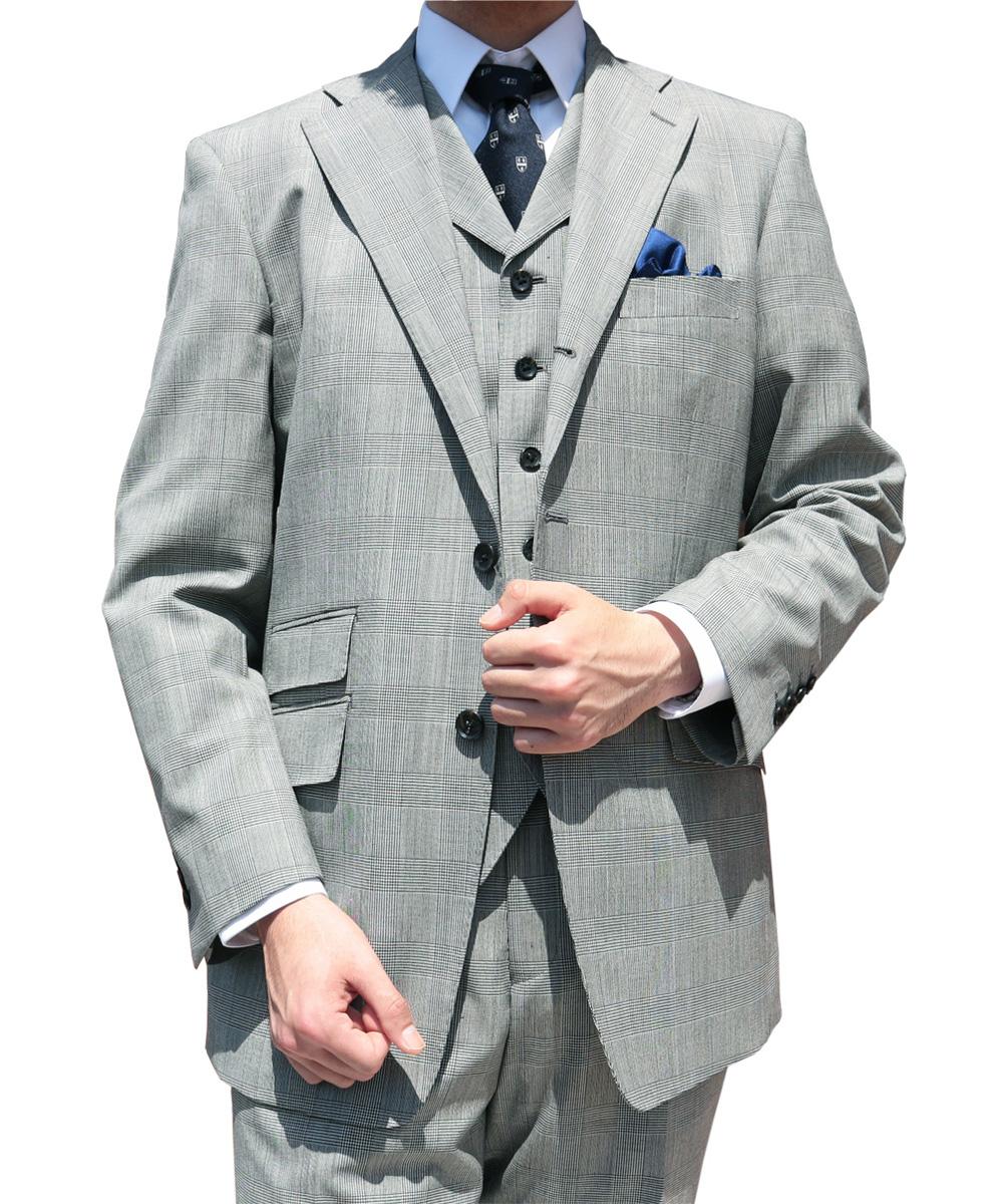 春夏秋 スリーピース グレンチェック 英国調 3つボタン THEO DORE 【チェンジポケット付】【ウール100%】【ベスト抜き可】 メンズ スーツ 6915   A4 A6 A7 A8 AB3 BB4