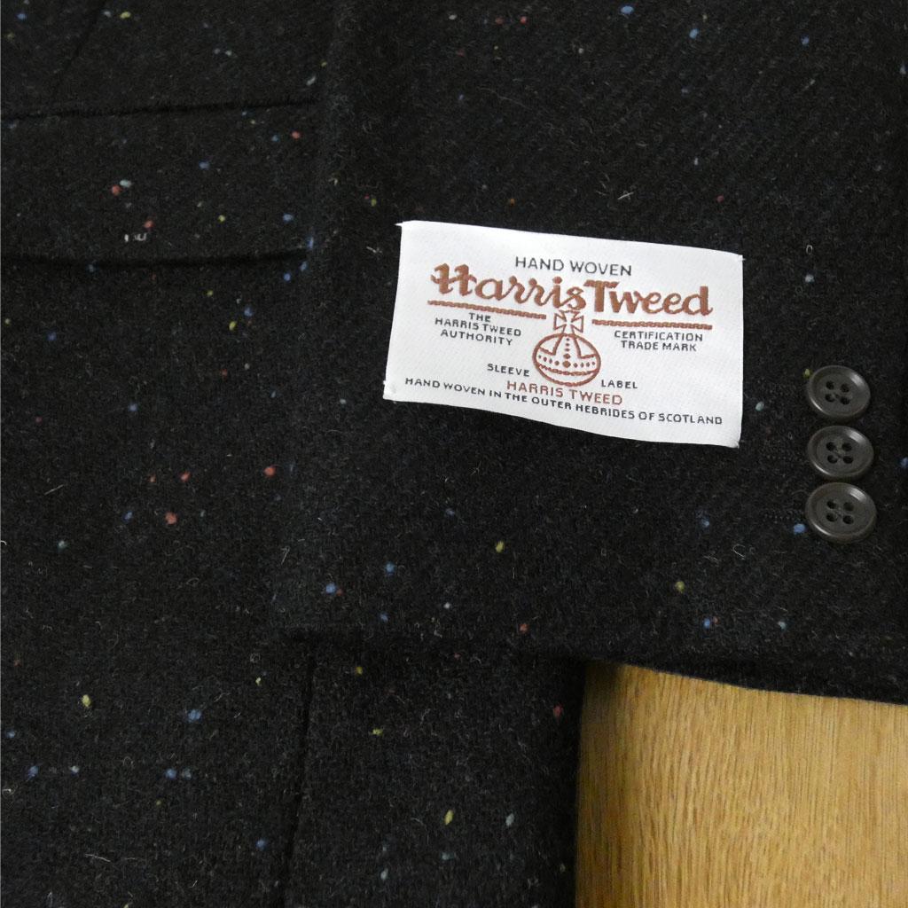 秋冬 ハリスツイード ジャケット ブラック ネップ柄 2つボタン メンズ ブレザー OXFORD CLASSIC 2210 AB4 AB5 AB6 BB4 BB5 BB6 BB7