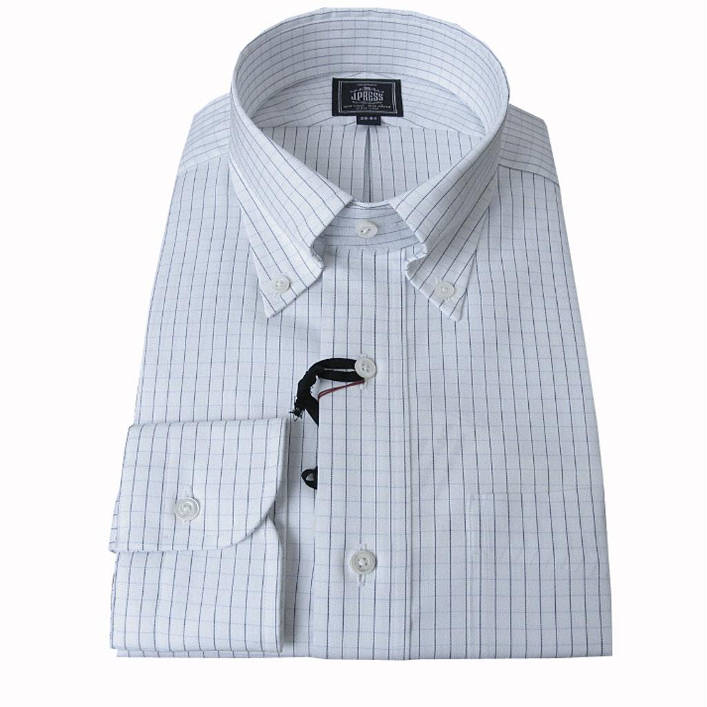 【形態安定】J.PRESS(ジェイプレス) ボタンダウンシャツ メンズ 長袖ワイシャツ ブルー系チェック柄 375 (衿39cm-裄丈84cm)(衿43cm-裄丈86cm)