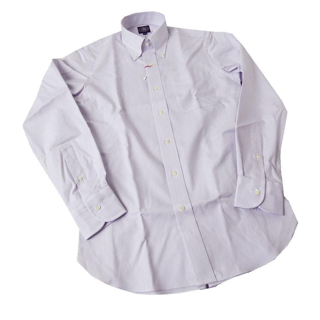 J.PRESS(ジェイプレス) ボタンダウンシャツ メンズ長袖ワイシャツ パープル系 ストライプ 0061 (衿39-裄丈84cm)